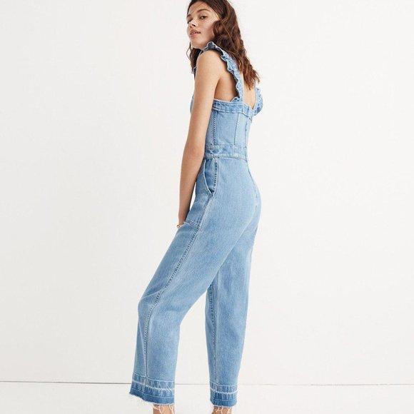 Madewell Pants Jumpsuits Denim Rufflestrap Jumpsuit Xs0 Poshmark